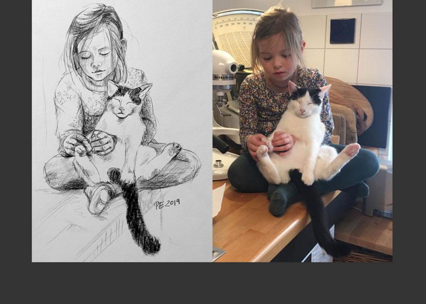 Zeichnung nach Fotovorlage